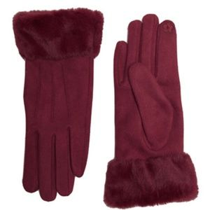 SOLID FAUX FUR TRIM TOUCH SCREEN GLOVE BURGUNDY